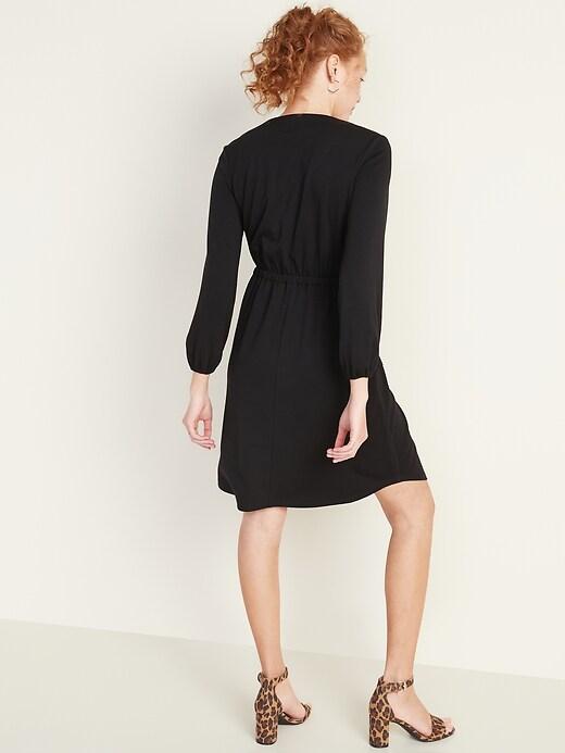 Waist-Defined Ponte-Knit Utility Dress for Women