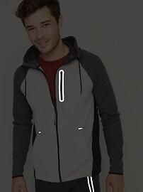 Dynamic Fleece Color-Blocked Zip Hoodie for Men
