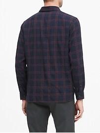 Untucked Slim-Fit Crinkle Flannel Shirt