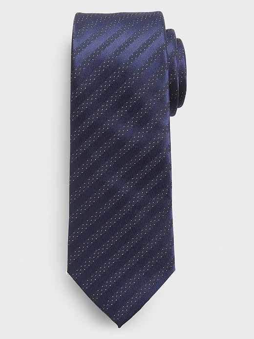 Stain-Resistant Blue Dotted Stripe Tie