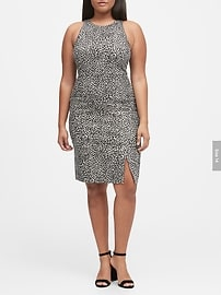 Metallic Leopard Bi-Stretch Sheath Dress