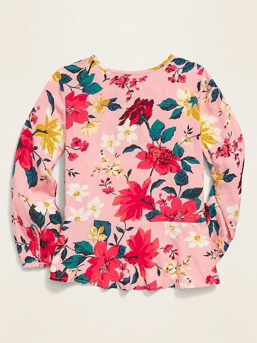 Button-Front Peplum Top for Girls