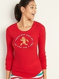 Old Navy Christmas-Graphic Thermal-Knit Tee for Women Deals