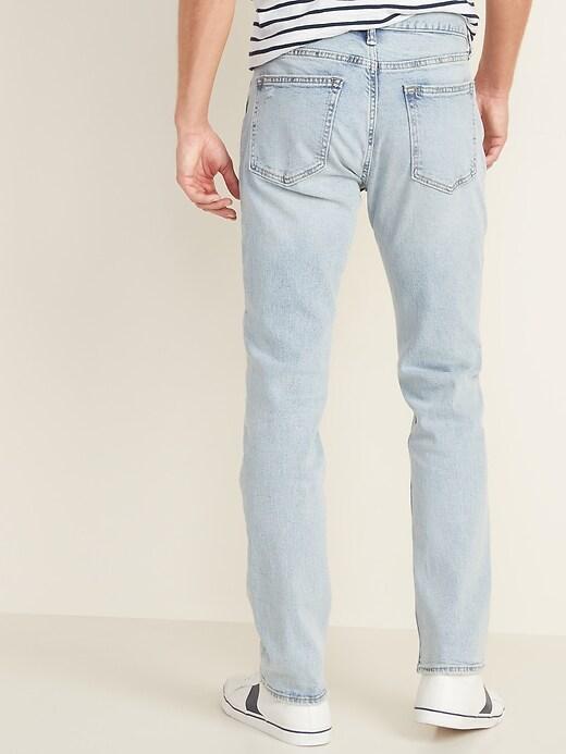 Slim Built-In Flex Distressed Light-Wash Jeans for Men