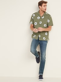 Regular-Fit Built-In Flex Printed Getaway Shirt for Men