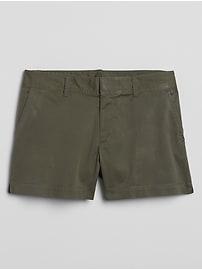 """3"""" Mid Rise Khaki Shorts"""