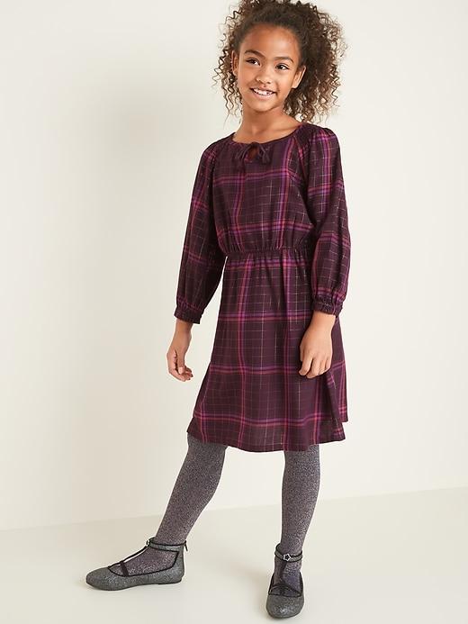 Tie-Neck Blouson-Sleeve Waist-Defined Dress for Girls