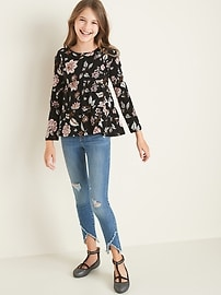 Floral-Print Tiered Slub-Knit Top for Girls