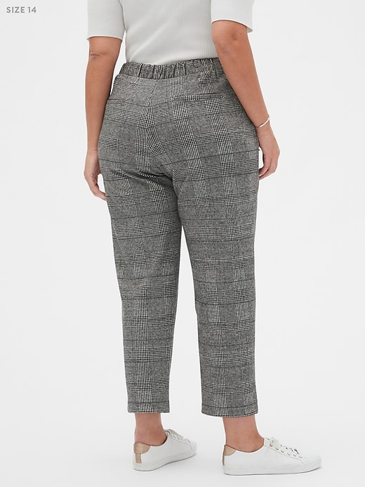 Hayden Pull-On Knit Brushed Plaid Ankle Pant