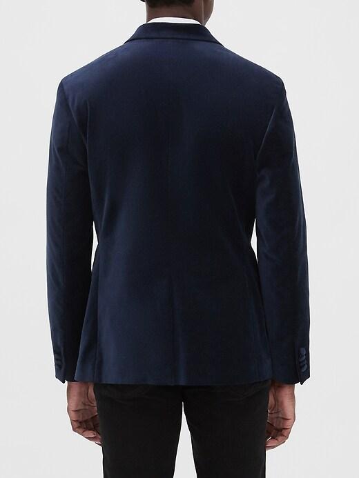 Slim-Fit Navy Velvet Blazer