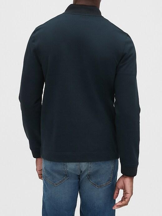 Mixed Media Half-Zip Sweatshirt