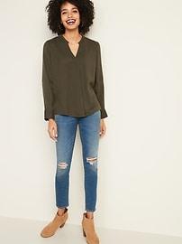 Textured Double-Weave Split-Neck Top for Women