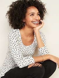 Slim-Fit Rib-Knit Printed Tee for Women