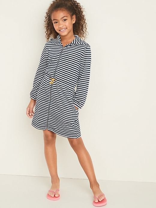 Hooded Loop-Terry Swim Cover-Up Zip Dress for Girls
