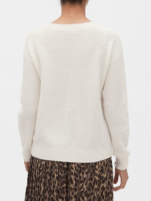 Ribbed Pointelle Boat-Neck Sweater