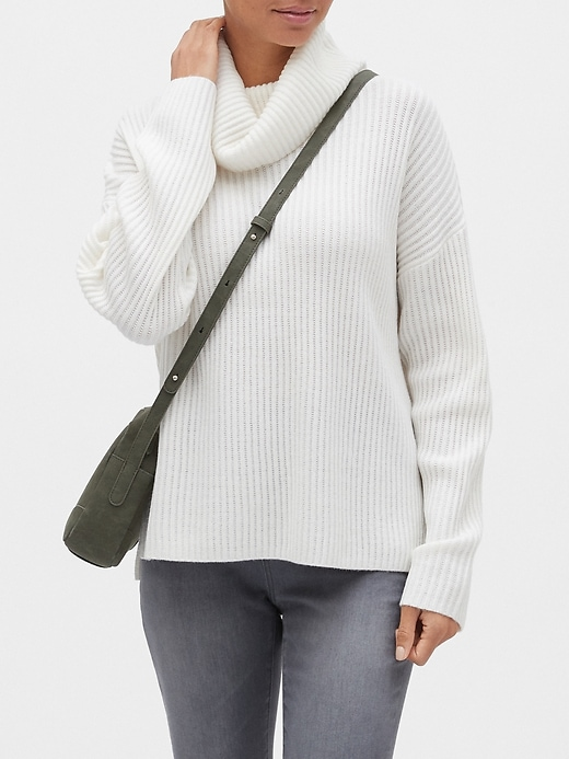 Ribbed Oversized Cowl-Neck Sweater