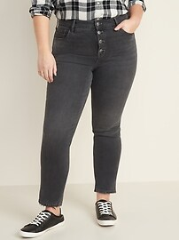 High-Waisted Power Slim Straight Button-Fly Ankle Jeans for Women