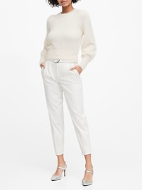 Petite Fuzzy Puff-Sleeve Cropped Sweater