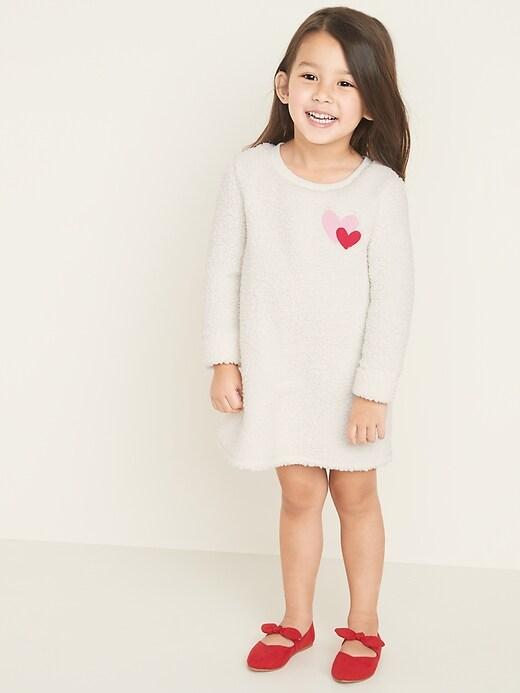 Heart-Graphic Sherpa Shift Dress for Toddler Girls
