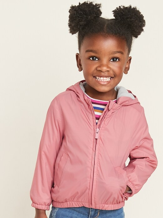 Water-Resistant Hooded Zip Jacket for Toddler Girls