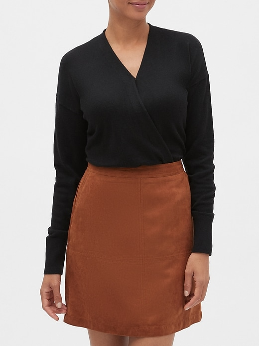 Wrap-Front V-Neck Sweater