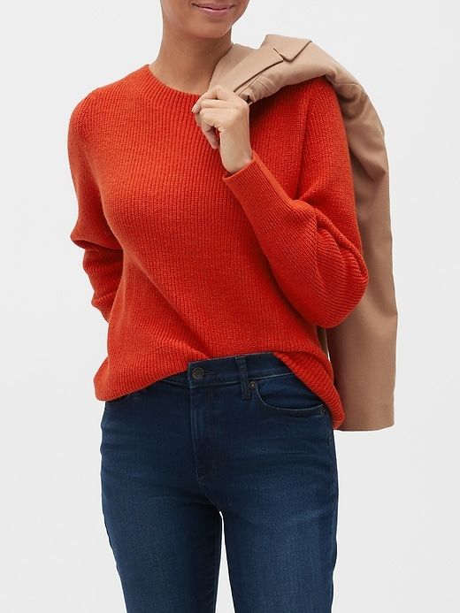 Ribbed Boat-Neck Sweater