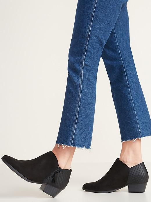 Faux-Suede Perforated Ankle Boots for Women