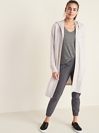 Long Open-Front French Terry Wrap Hoodie for Women