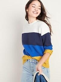 Cozy Color-Block Bouclé Sweater for Women