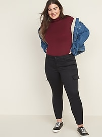 Mid-Rise Sateen Rockstar Super Skinny Cargo Pants for Women