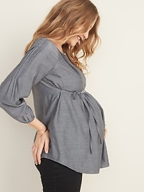 Maternity Pintuck Tie-Belt Top