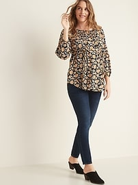 Maternity Pintuck Tie-Belt Blouse