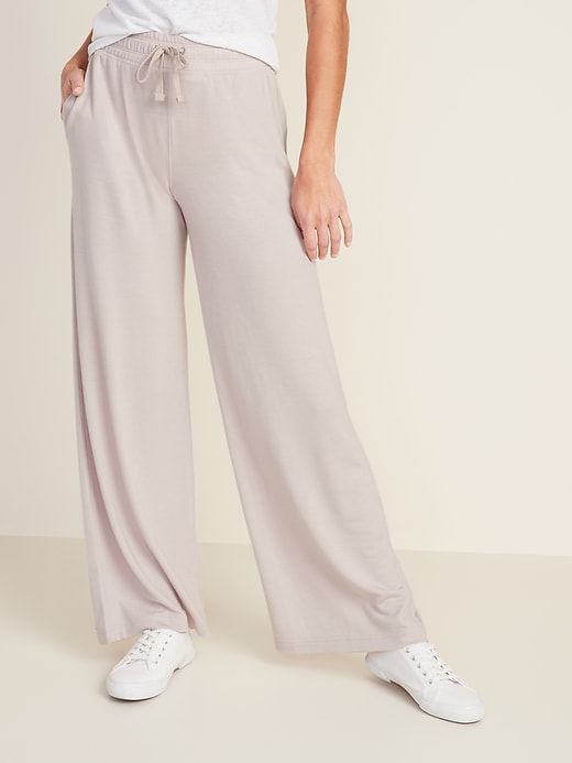 High-Waisted French Terry Wide Leg Pants For Women