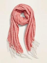 Patterned Bouclé-Knit Blanket Scarf for Women