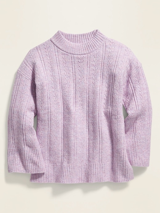 Slouchy Soft-Brushed Pointelle-Knit Sweater for Girls