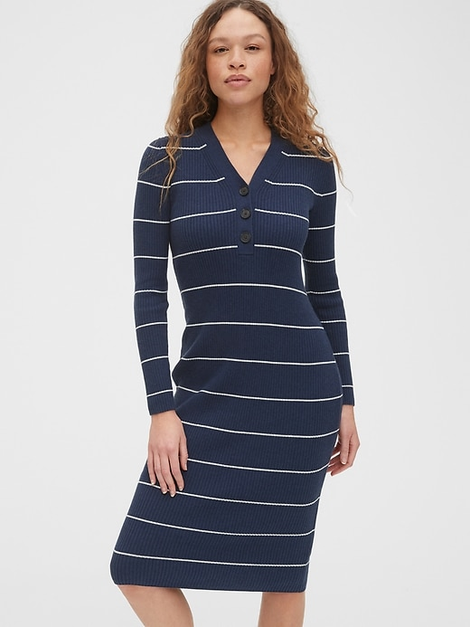 V-Neck Ribbed Henley Midi Sweater Dress