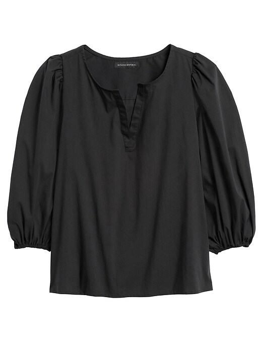 Poplin Puff-Sleeve Blouse