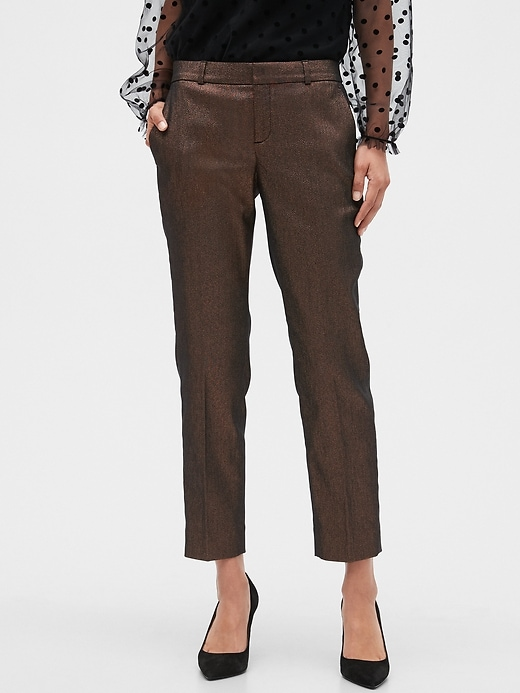 Avery Metallic Shine Tailored Ankle Pant