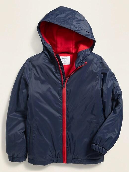 Water-Resistant Micro Performance Fleece Lined Windbreaker Jacket for Boys