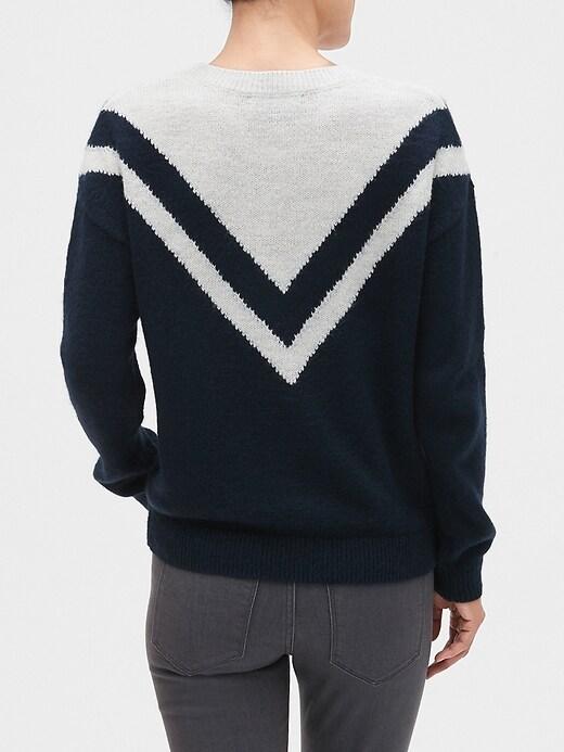 Chevron Colorblock Crew-Neck Sweater
