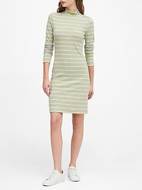 Turtleneck Ribbed-Knit Dress with Zipper