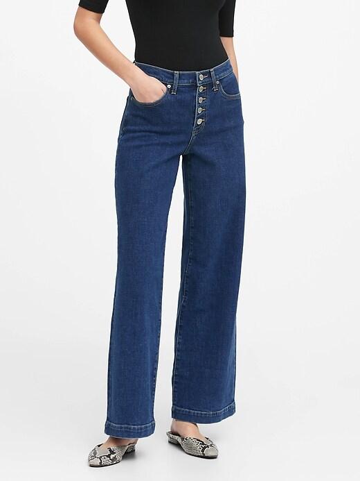 Petite High-Rise Wide-Leg Button Fly Jean