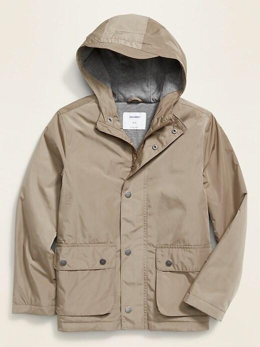 Water-Resistant Hooded Zip Anorak for Boys