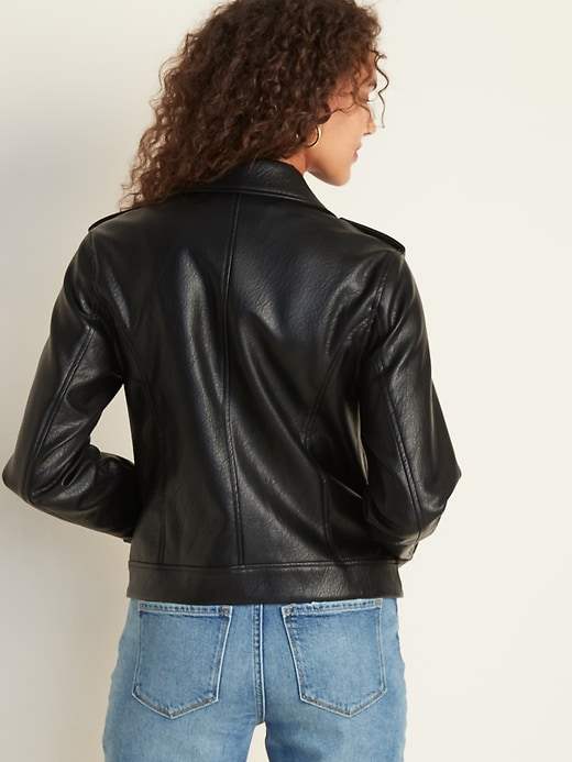 Faux-Leather Moto Jacket for Women