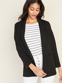 Ponte-Knit One-Button Boyfriend Blazer for Women