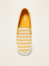 Striped Textured Slip-Ons for Women