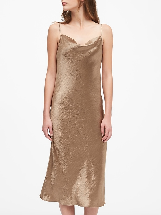 Petite Satin Midi Slip Dress