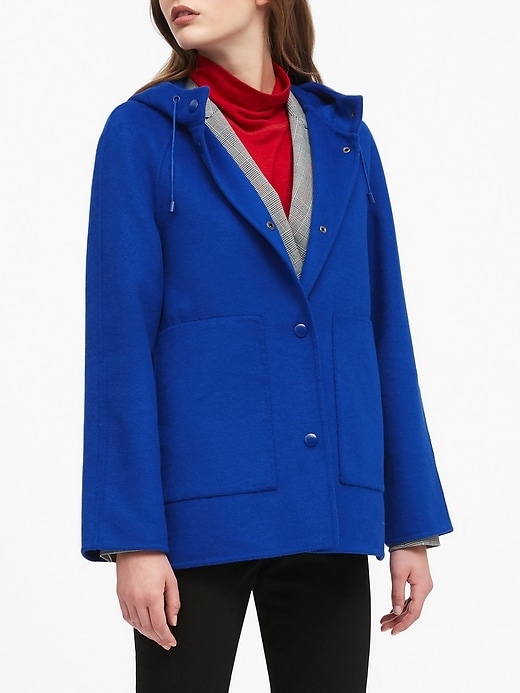 Petite Double-Faced Hooded Jacket
