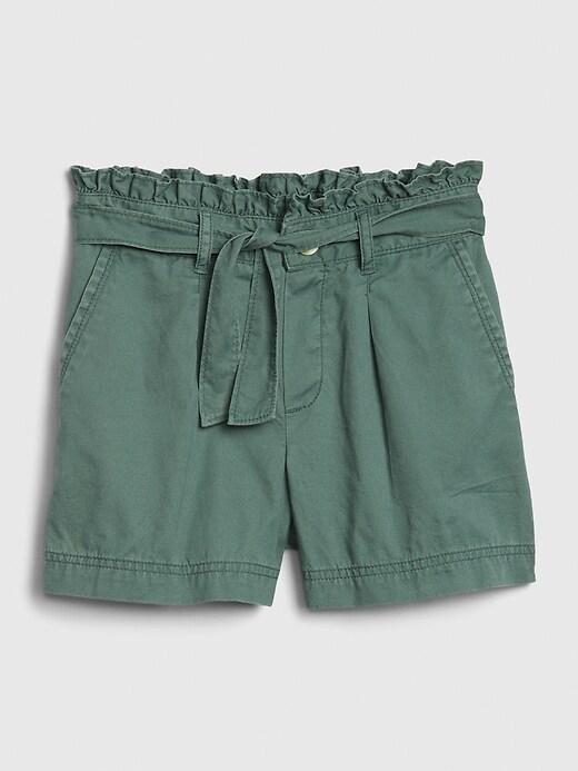 Kids Paperbag-Waist High Rise Shorts