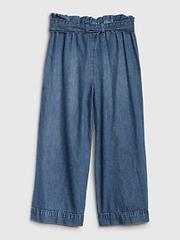 Kids High Rise Wide-Leg Crop Jeans